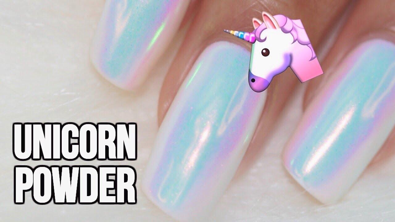 unicorn chrome powder nails