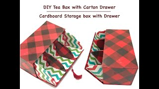 DIY Cardboard Tea Box with Drawer | Cardboard Storage Box with Drawer | Craft Room Organiser