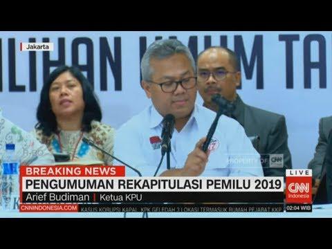 Final! Ini Hasil Rekapitulasi KPU Untuk Pemilu 2019 ; KPU Tetapkan Jokowi-Ma'ruf Menang Pilpres 2019