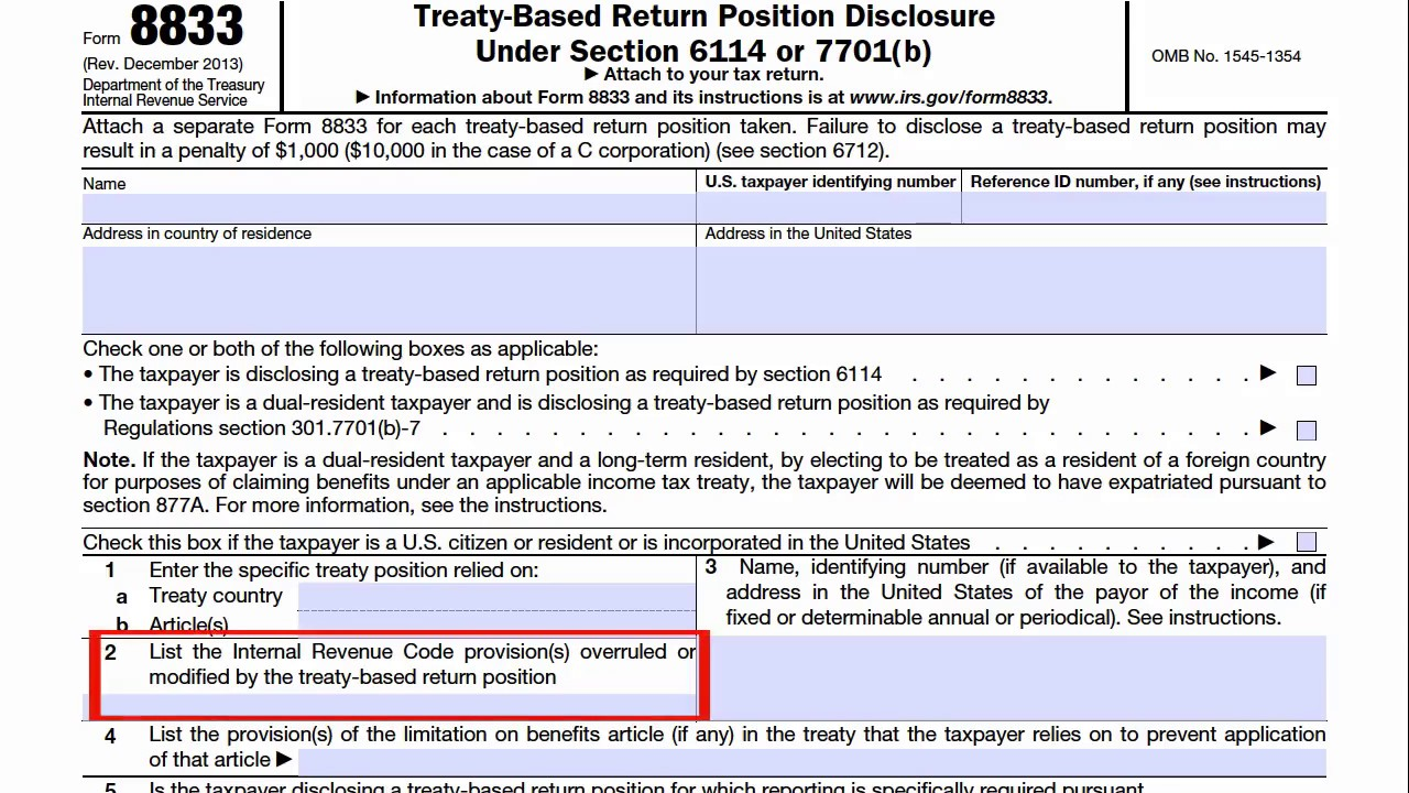 Form 8833, Treaty-Based Return Position Disclosure Under Section ...