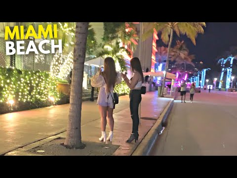 4K Miami Beach Night Walk South Beach Ocean Drive Night Life Miami, FL