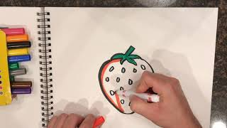 🍓🍓🍓 How to draw and color a Strawberry  for kids!