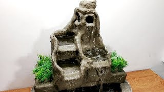 How to make amazing cement waterfall fountain water fountain