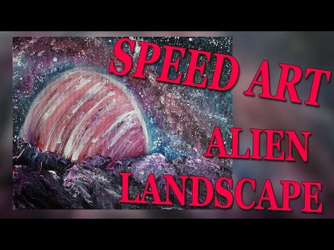 003 Speed Art Alien Landscape with acrylic Speed drawing, Speed painting, timelapse