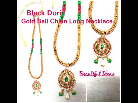 DIY/ How to Make Black Dori Gold Ball Chain Necklace at Home..Tutorial
