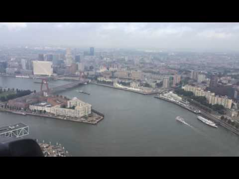 Helicopter flight over the city of Rotterdam. Before I asked my girl to marry me!
