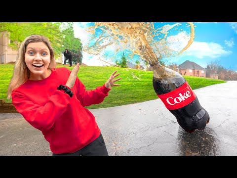 WORLDS BIGGEST COKE Vs MENTOS Soda Rocket $10,000 Challenge (Mystery Neighbor Prank On Grace Sharer)