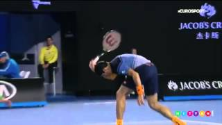 Milos Raonic Racket Smash: Australian Open Semi Final