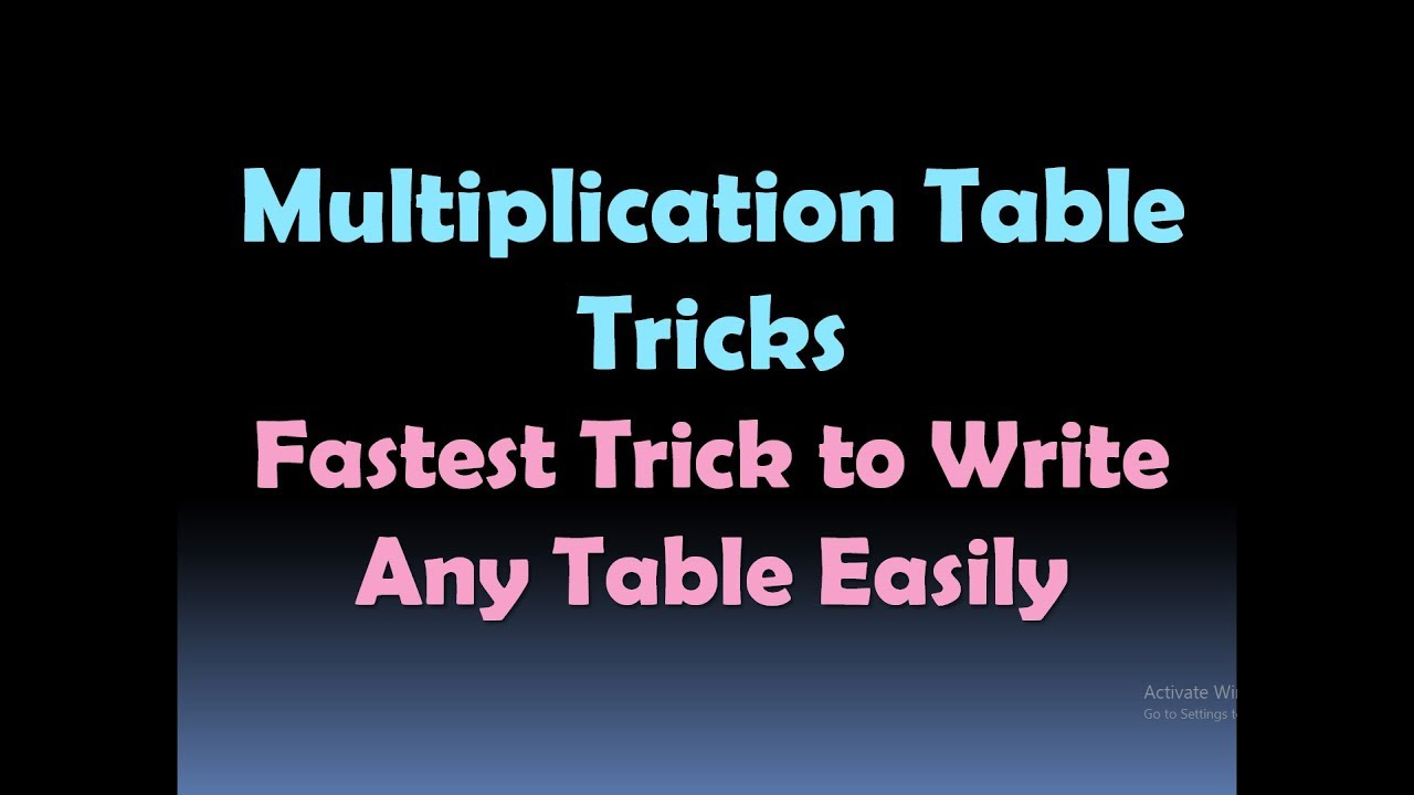 Multiplication table tricks fastest trick to write any table multiplication table tricks fastest trick to write any table easily hd gamestrikefo Gallery
