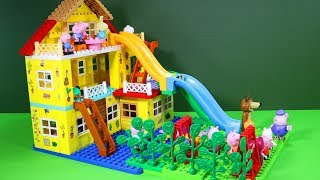 Peppa Pig Blocks Mega House Construction Lego Sets With Water Slide Creative Toys For Kids #2