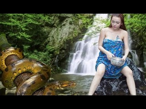 Snake on naked girl