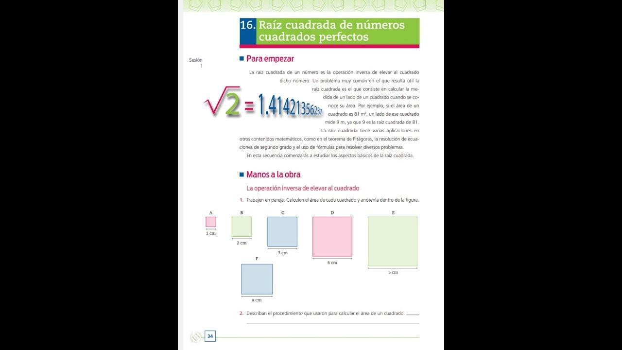 2° Matemáticas, 16Raíz cuadrada de números cuadrados perfectos. Página 34