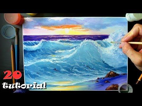 Как нарисовать море гуашью поэтапно для начинающих