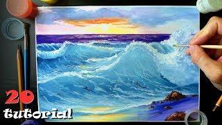Как нарисовать море гуашью? Поэтапный мастер класс.