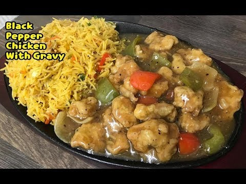 Chinese Black Pepper Chicken With Gravy And Masala Fried Rice /Complete Recipe By Yasmin's Cooking