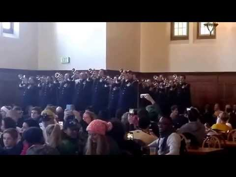 Notre Dame Band's Trumpets play Fight Song South Dining Hall 11/14/15