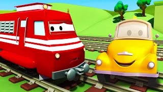 Tom The Tow Truck and Troy The Train in Car City | Cars & Trucks construction cartoon (for children)