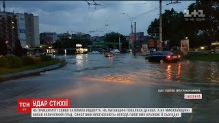 Негода повикорчовувала дерева та затопила вулиці українських міст