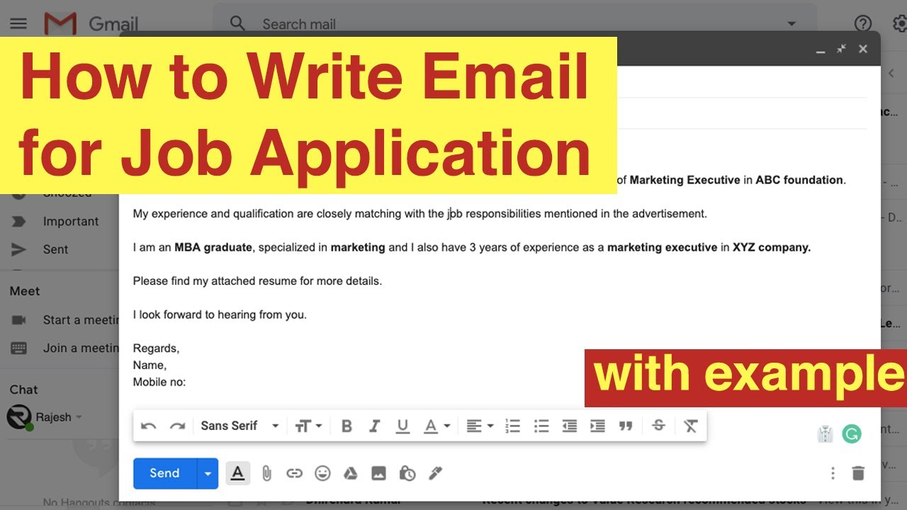 how to write email for applying job application