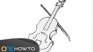 How to draw a violin easy