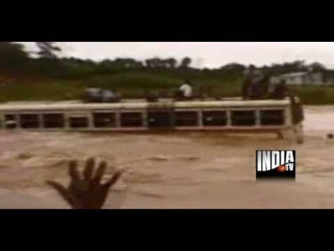 Live footage: bus swept away in West Bengal flood