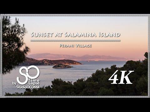 4K Timelapse & Hyperlapse Greece Sunset at Salamina Island, Perani Village