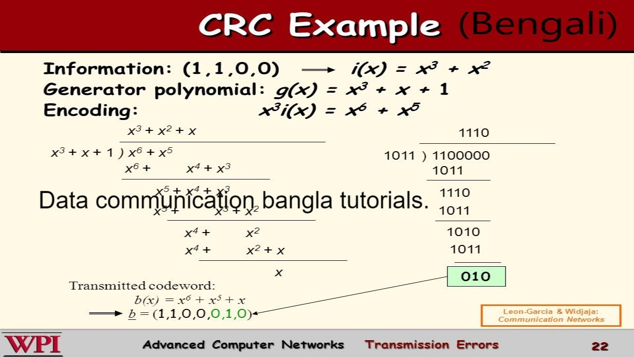 Data Communication: Error detection and correction part-2 (CRC Polynomials  in bangla)