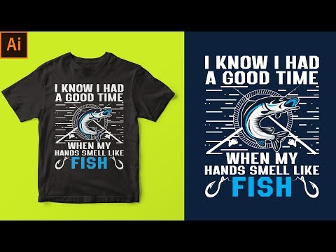 Adobe illustrator T-shirt Design Tutorial | Tshirt design tutorial in bangla | Fishing Tshirt Design