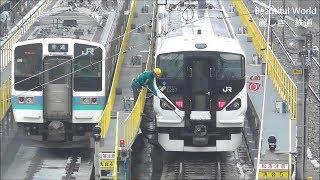 E257系 特急あずさ定期運用終了後 長野総合車両センターに回送され、留置中 2019.3.6 JR長野総合車両センター  光panasd 1168
