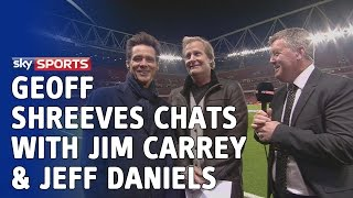 Jim Carrey and Jeff Daniels chat with Geoff Shreeves at the Emirates ahead of Arsenal v Man Utd