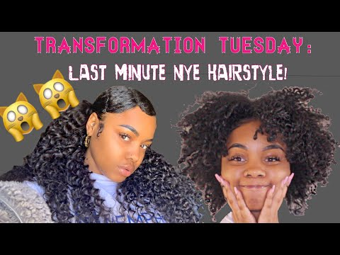 Holiday Hairstyle for Natural Hair | LAST MINUTE NYE Hair! Ft. Wiggins Hair thumbnail