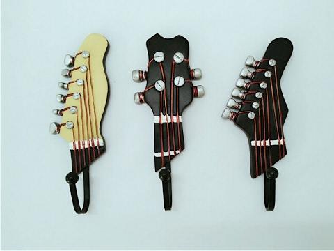 Musical Coat Hook Guitar Wall Mounted Utility Hooks Rocking Styles 3PCS/SET