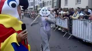 Greenman Mcc Turtle, Joules Bunny And Others Finish Their Heat At The Giant Animal Mascot Race 2012