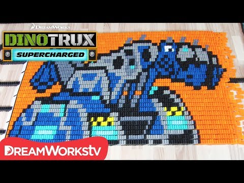 Dinotrux Supercharged In 26,000 Dominoes | DINOTRUX SUPERCHARGED