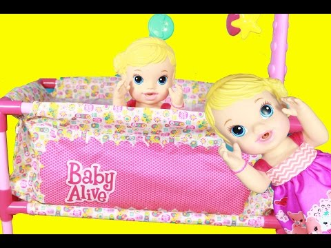 BABY ALIVE Doll NEW Pack N Play Crib & Babies Break Doll Bed Furniture Deluxe Play Yard Funny Parody