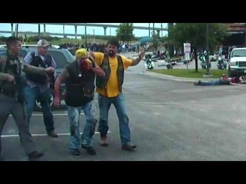 Dashcam footage captures biker gang brawl