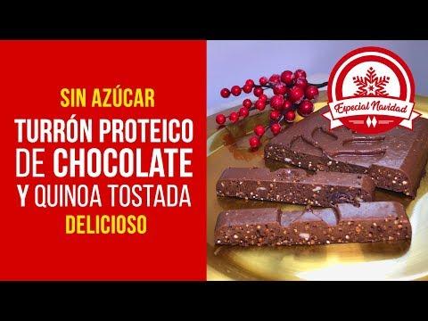 Turrón Proteico de Chocolate y Quinoa Tostada sin Azúcar con Sucralín