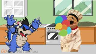 Dark Bowser throws water balloons/Breaks cups/Messes up the kitchen/grounded