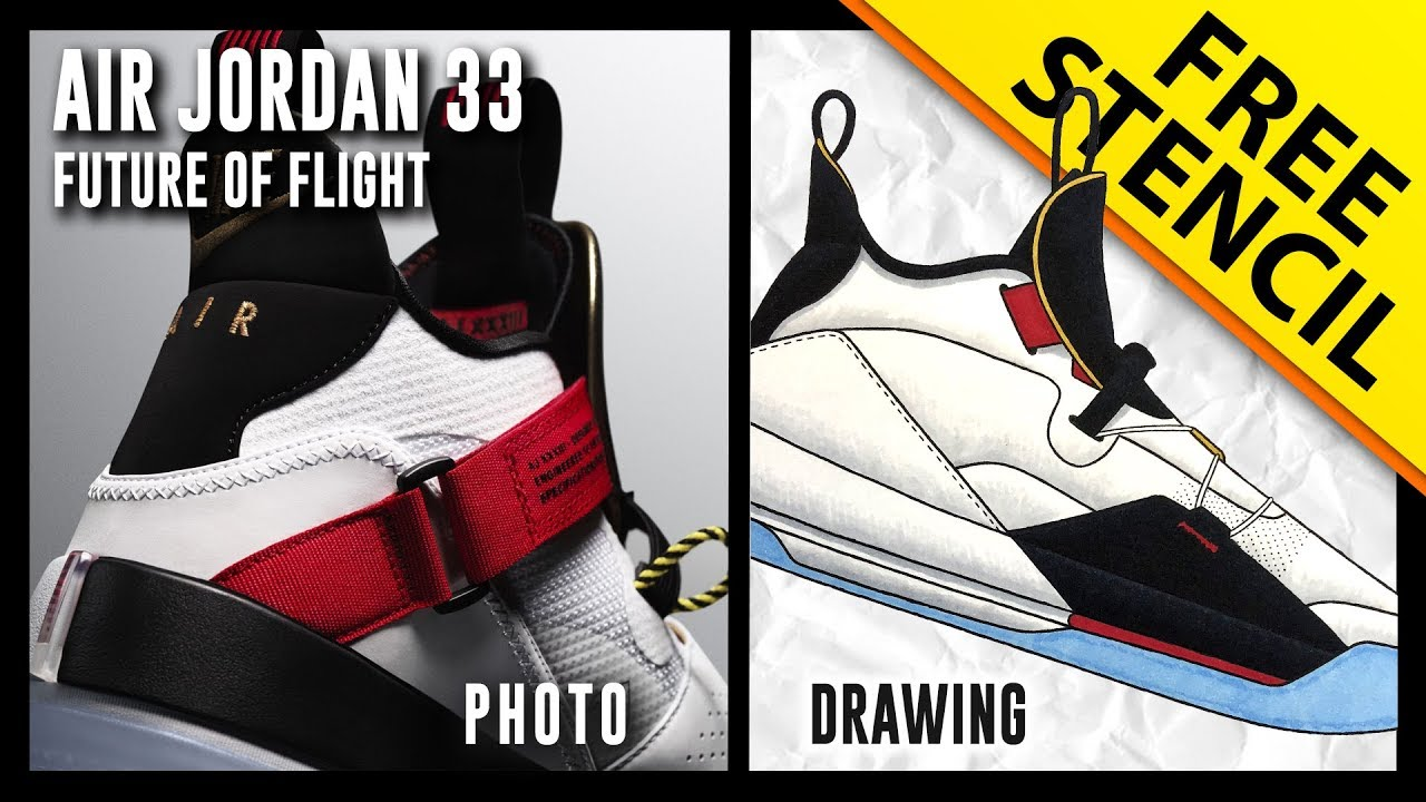 Air Jordan 33 Future of Flight   Sneaker Drawing w  FREE Stencil     Air Jordan 33 Future of Flight   Sneaker Drawing w  FREE Stencil