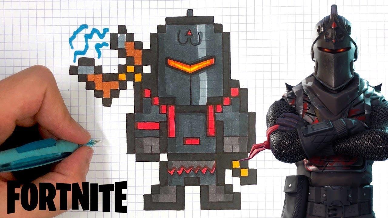 How To Draw Black Knight Pixel Art Fortnite Skin