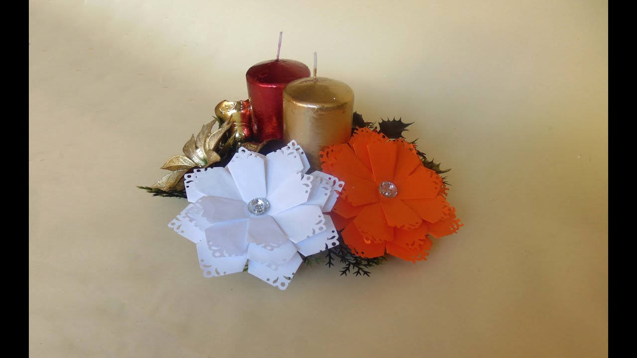 Como hacer flores para navidad youtube for Manualidades para hacer adornos de navidad