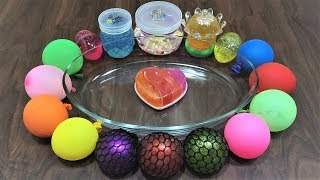 Mixing Random Things into Store Bought Slime ! Mixing Stress Balls with Store Bought Slime !