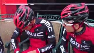 BMC pro cycling team prep and roll out for a training ride