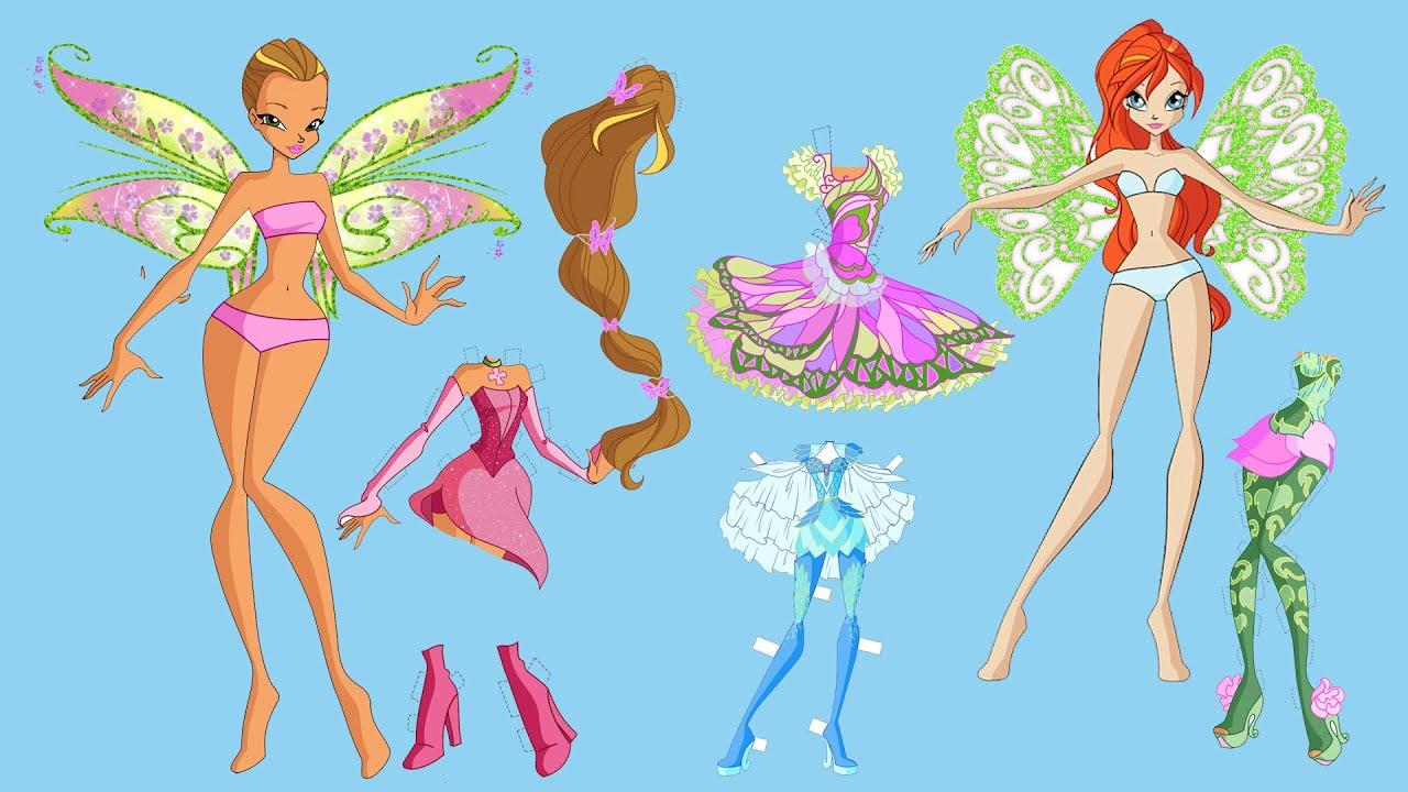 Paper Dolls Dress Up   WinX Club Dresses Handmade Quiet Book  Winx Story & Crafts