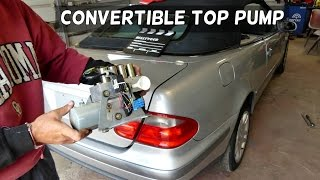 MERCEDES W208 CLK CONVERTIBLE TOP PUMP REMOVAL REPLACEMENT