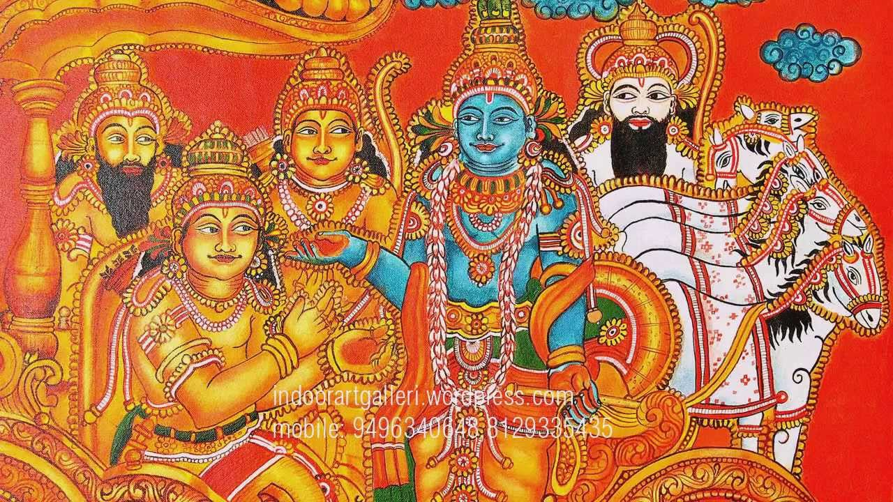 Kerala mural painting geethopadesham beautiful mural for Mural painting images