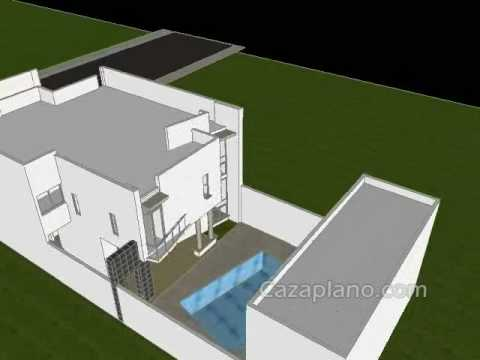 Planos de casas dise o 002 casa moderna en video youtube for Planos casa minimalista autocad