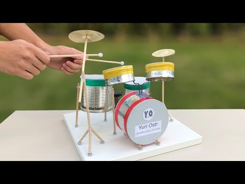 How To Make A Drum Set - Amazing Idea - DIY Realistic Miniature Drums - Tutorial