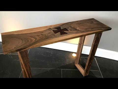 Modern Console Table Walnut With Resin Templare Cross