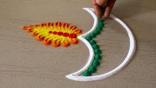 Diya Rangoli Design For Diwali | Deepavali Deepam Muggulu | Vilakku Kolam For Deepavali